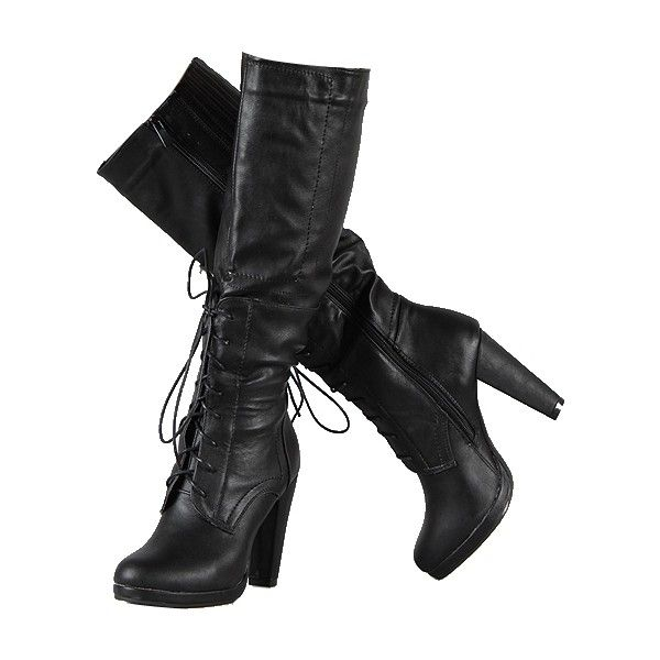 Black faux suede knee high boots, womens boots, ladies boots ❤ liked on Polyvore
