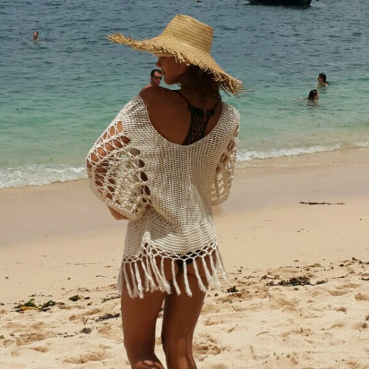 Happy customer in her crochet batwing top. Perfect for the beach or looks great with your favorite jeans and boots