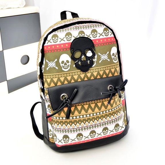 Fashion Graffiti Geometry Skull Personalized Backpack|Fashion Backpacks - Fashion Bags- ByGoods.com