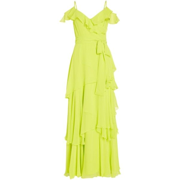 Tahari ASL Tiered Chiffon Cold Shoulder Gown ($160) ❤ liked on Polyvore featuring dresses, gowns, sale women dresses, yellow evening gown, yellow ball gown, cold shoulder gown, cut-out shoulder dresses and yellow gown
