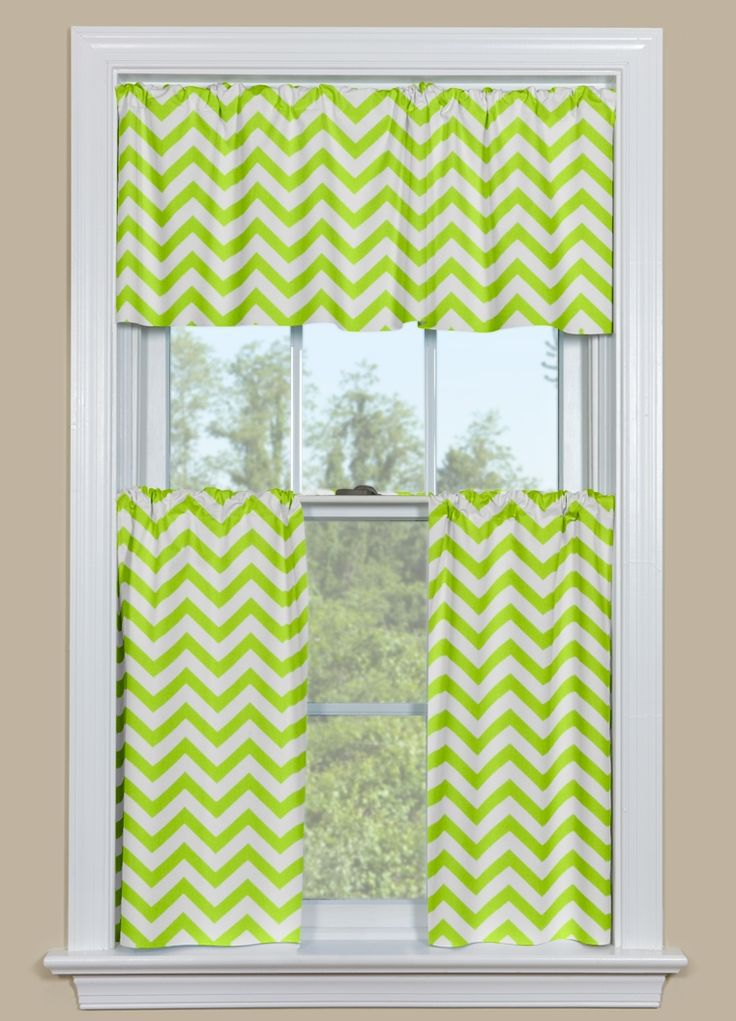 Curtains For A Bathroom Window Or Kitchen Window Chevron Pattern In Green And White