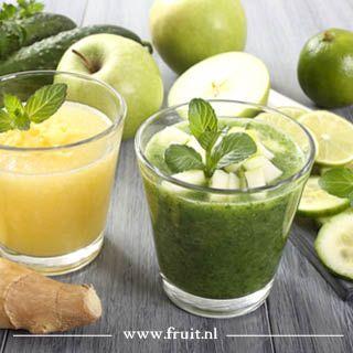 Groente en fruit smoothie met appel, komkommer en boerenkool