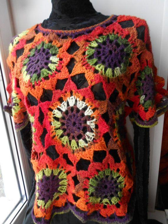 Crochet Jaket Crochet Pullover Crochet Vest Crochet Sweater Crochet Top  FREE SHIPPING