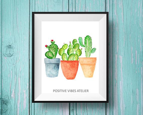 Cactus Print, Watercolor Cactus Art Print, Tropical Wall Art, Digital Prints, Gift for Home, Botanical Wall Art, Succulents House Decor