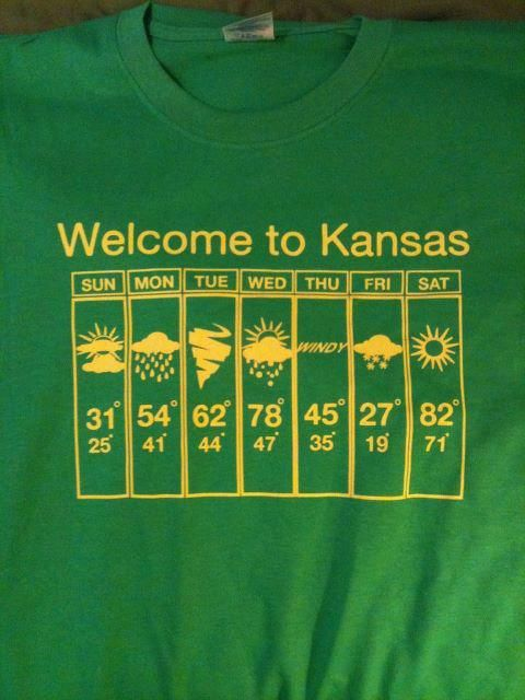 Kansas weather... So true!  It was 70 one day this week & snowed the next day.  Oh, and tornadoes on another day.