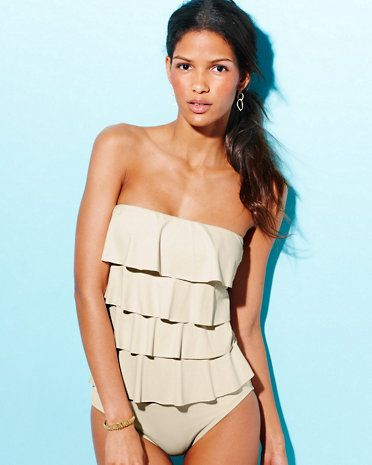 Michael Kors Ruffled Tankini this would look so good on you. Love the color.