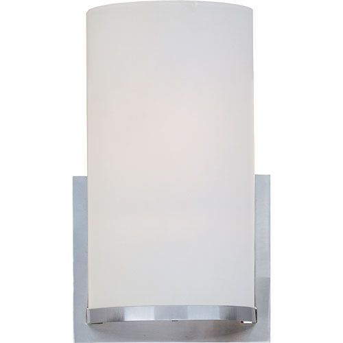 Elements Satin Nickel Tall One-Light Wall Sconce with Satin White Glass Shade