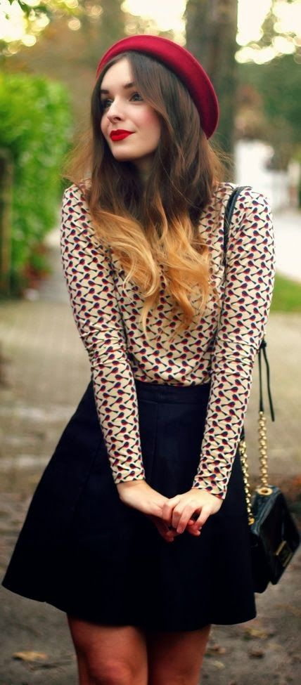 Beautiful French style outfit. Love the beret especially.