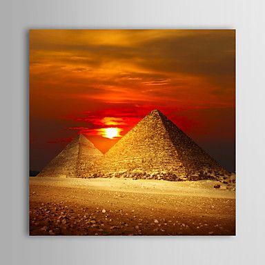 【今だけ 送料無料】現代アートなモダン キャンバスアート 絵 アートパネル 抽象画1枚で1セット エジプト ピラミッド 夕日 オレンジ【納期】お取り寄せ2~3週間前後で発送予定