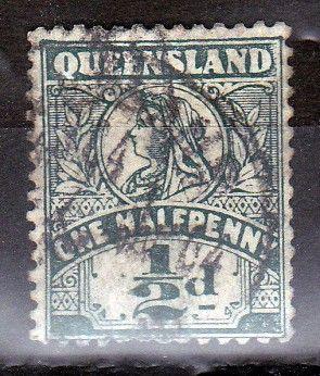 Queen Victoria stamp Queensland Australia 1.2d dark green 1899 used Q Crown WMK