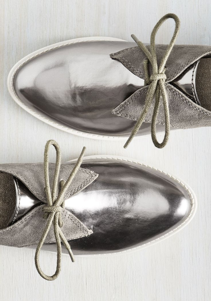 It ain't just any ol' fashionista who could sport these Seychelles Oxfords with the dignity that you do! You should be proud that the smooth silver toes, grey suede heels, and cool white soles of these flashy lace-ups are such a celebration of your confidence and moxie.