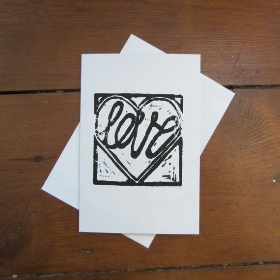 LOVE HEART CARD (Black) on Etsy, £2.05