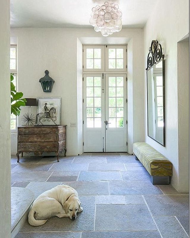Love these tiles, they remind me of home back in ItalyGives this entryway allot of character!. #tiles #entryway #entrywaydecor #doors #countryhome #beachhouse #homeliving #homedecor #house