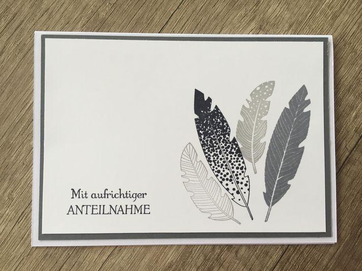 Trauerkarte; Beerdigung; Stempelset Four Feathers;