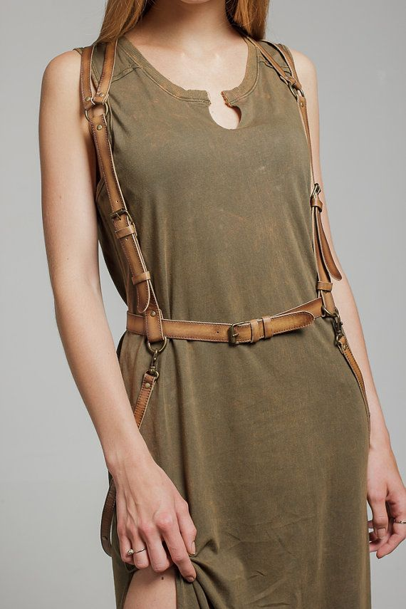 Tan color leather women body harness by BohoMantra on Etsy