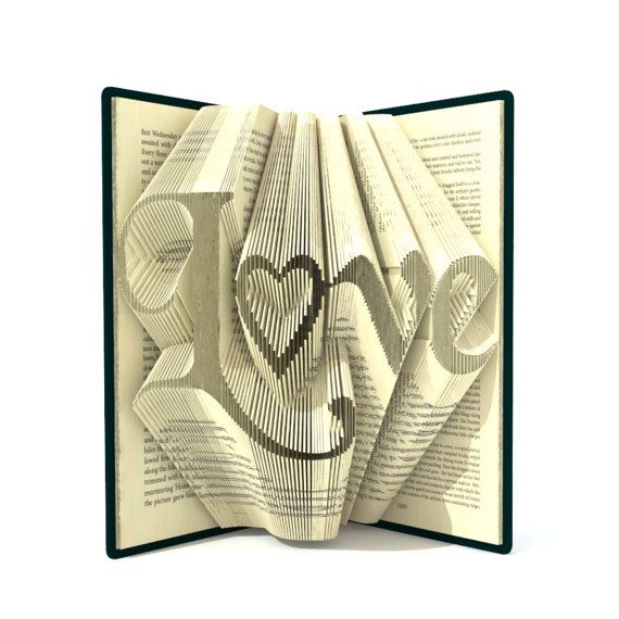 Book folding pattern LOVE 284 folds by SimplexBookFolding