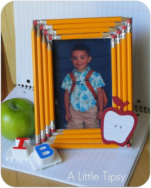 Cute idea, take the students pic on the first day, start saving used pencils and make this frame as a parent gift at the end of the year. CUTE
