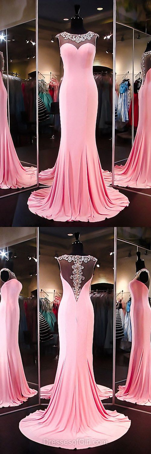 Unique Mermaid Formal Dresses, Scoop Neck Silk-like Satin Party Dresses, Beading Evening Gowns, Pink Prom Dresses, Cheap Long Homecoming Dresses
