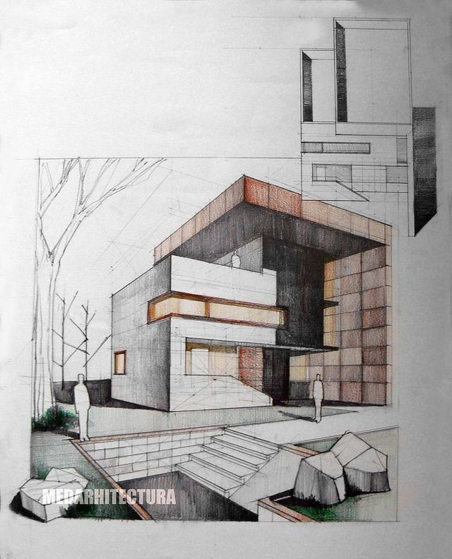 Two Point Perspective Drawing Rendered Using Coloured Pencil To Hatch And Shade The Tonal Textural Qualities Lead Outline Forms