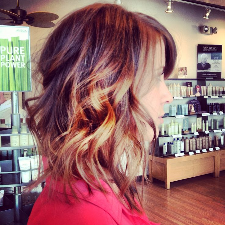 textured medium length razored angled lob ombre