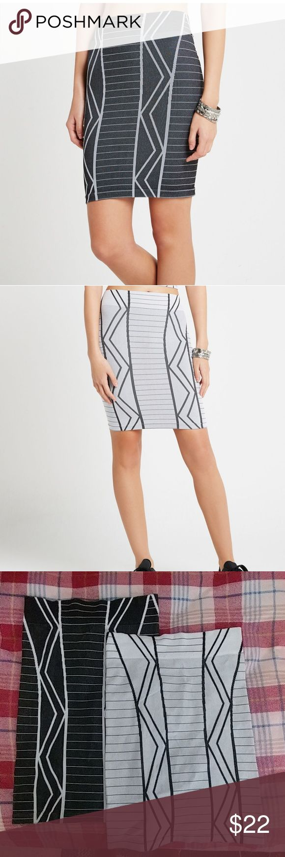 Set of two bcbg geo tribal pattern skirts Sits at the waist. Elasticized waistband. Seamless construction. Pencil skirt silhouette. Hits above the knee. Allover tribal print They are very comfortable, only worn a few times. Both are the same size BCBGeneration Skirts Pencil