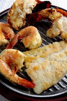 Grilled Hake Recipe and Lobster Tails with Fresh Herb Butter