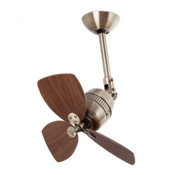 Ventilador de estilo vintage en color marrón oscuro con palas reversibles