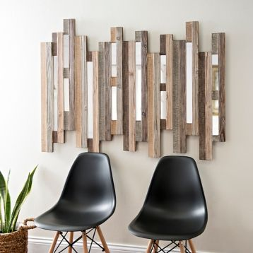 Natural Wooden Planks Mirrored Wall Plaque Wood Plank Walls Mirror Wall Art Living Room Clocks