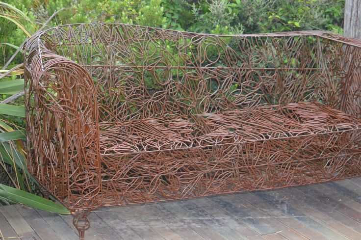'Broxton Road Sofa' steel sculptural furniture, allowed to rust, then sealed. Innersprung beauty on rolling caster wheels.  www.sharonearl.com Twitter @weldagirl Instagram sculptor.sharonearl #sculpture #steel #sofa