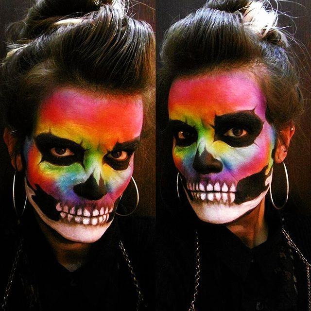 Watercolour Rainbow Skull Halloween makeup. Inspired by Alex Faction.