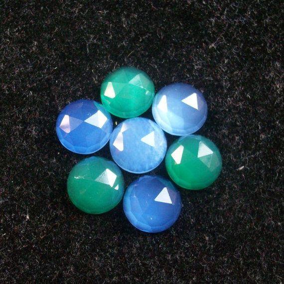 10 mm MIX GEMSTONE green onyx or blue chalcedony round by GEMSDEAL