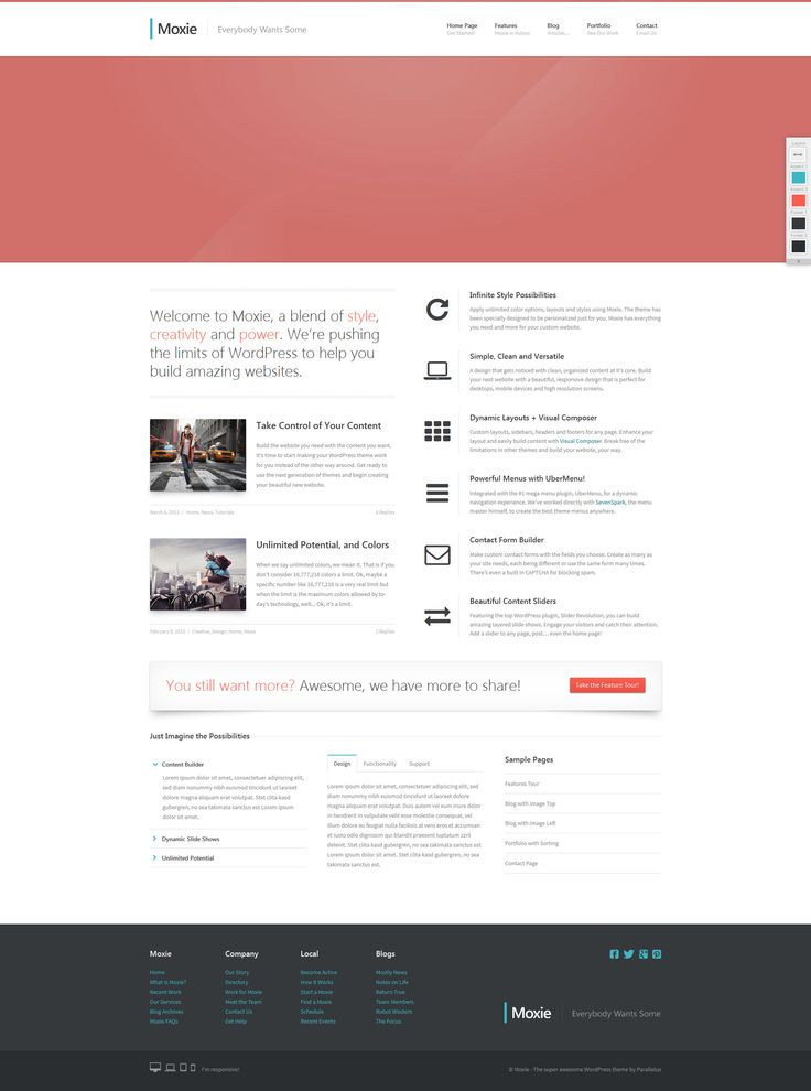 http://para.llel.us/themes/moxie-wp/  Cool JQuery effects