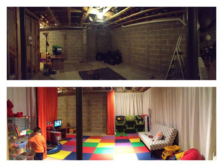 Absolutely love this for a play space by the laundry in the basement...instead of curtains this are $5 twin flat sheets from Walmart...great ideA