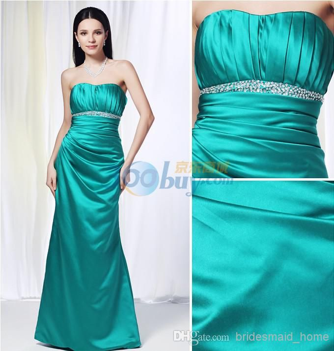 Wholesale Bridesmaid Dress - Buy Teal Color Inexpensive Bridesmaid Dresses Empire Satin Sweetheart Neckline Zipper Sequined Pleated Long Maid Of Honor Dresses, $119.9 | DHgate