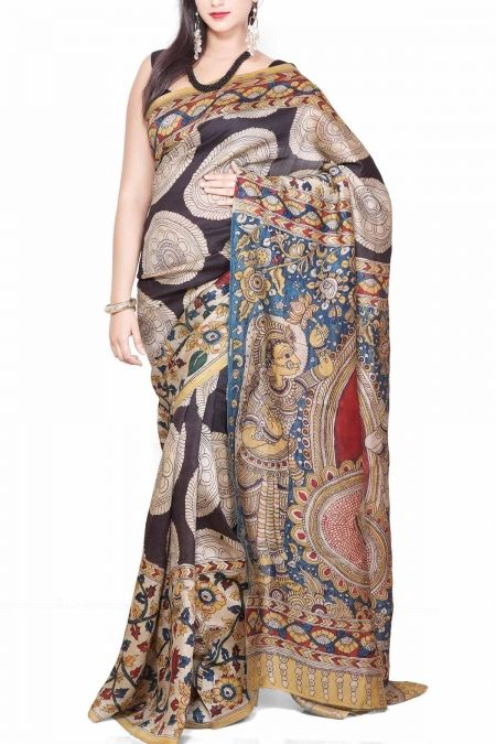 Illustrative Black Kalamkari Dupion Silk Saree
