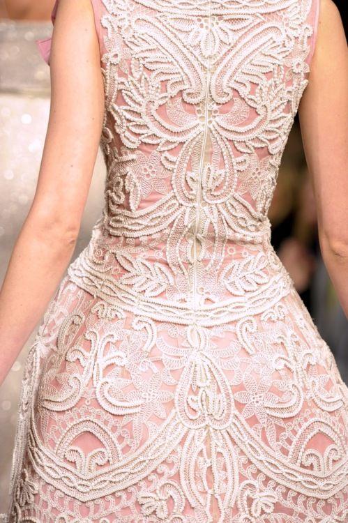 Blush Wedding Dress   oscar de la renta   pale pink and cream embroidery