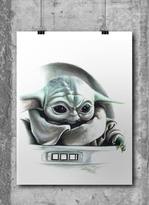 Art Print Home Decor Poster -Gift Baby Yoda Mandalorian Star Wars Painting