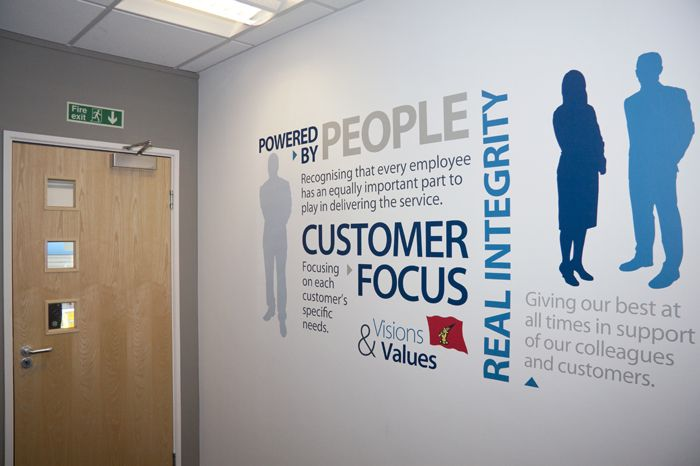 Pvc Wall Design For Office : Corporate values office wall word cluster signage