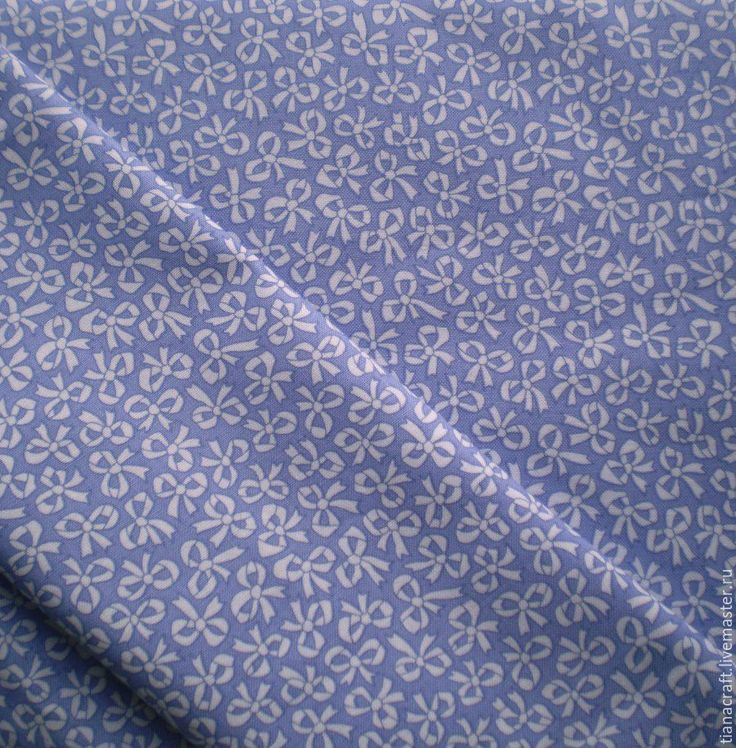 """Купить Ткань для пэчворка """"Бантики"""". Американский хлопок - васильковый, ткани для пэчворка, ткани сша"""