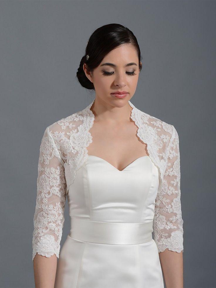 3 4 Sleeve Bridal Alencon Lace Bolero Jacket Lace 074 Design