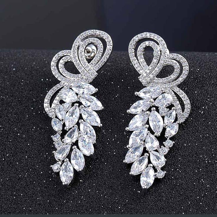 Luxury Flower Tassel Shape CZ Platinum Plated Drop Earrings