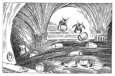 Escaping in casks. The Hobbit illustration by Tove Jansson