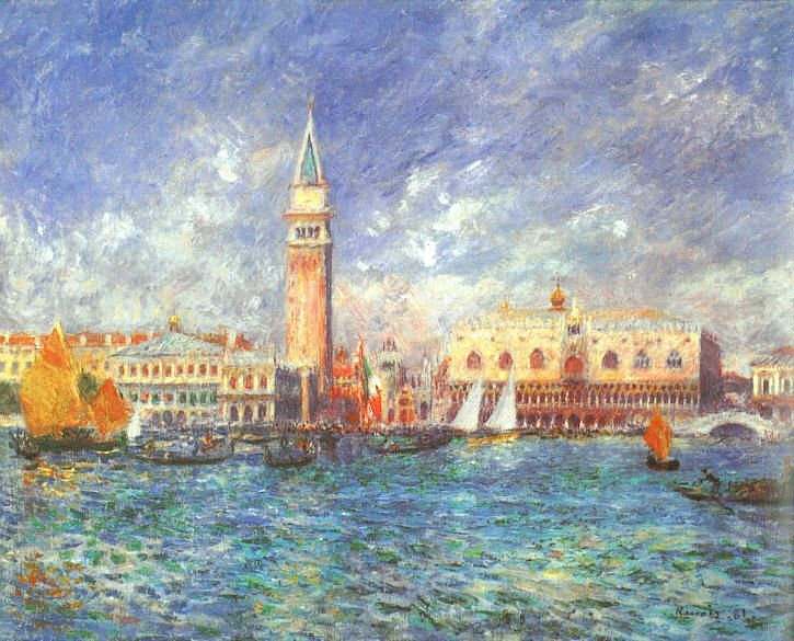 """Il Palazzo del Doge, Venezia"", Pierre-Auguste Renoir, 1881; olio su tela, 54,5x65 cm; Clark Art Institute of Williamstown (Massachusetts)."