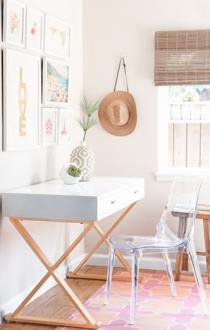 gold and white desk with lucite office chair