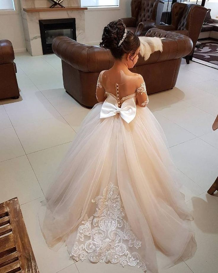 083bebd3be Cute Long Sleeves Ball Gown Flower Girl Dresses with Bow 2018 ...