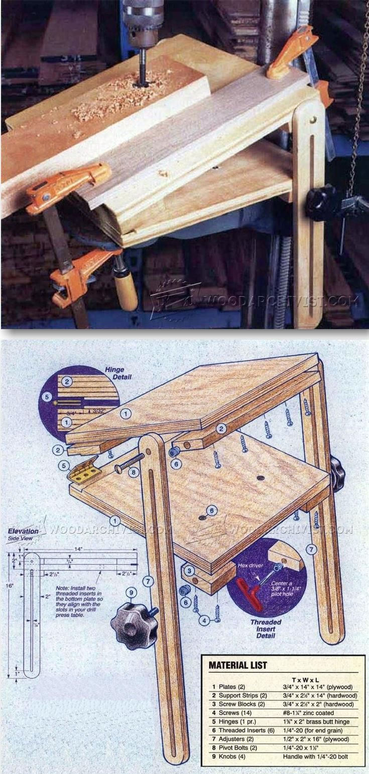 Post it note as a collector while drilling - Drill Press Tilt Table Drill Press Tips Jigs And Fixtures Woodarchivist Com