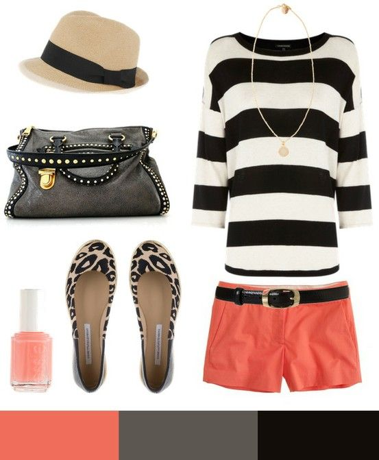 coral and blackColors Combos, Fashion, Summer Outfit, Style, Black And White, Black White, Colors Schemes, Stripes, Coral Shorts