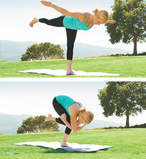 Warrior III Core Crunch. Strengthens glutes, legs, core; stretches hamstrings.