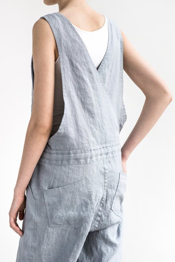 Loose Linen jumpsuit / Light elephant grey by notPERFECTLINEN