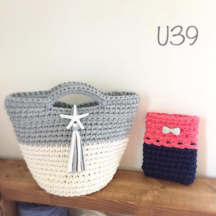 """215 Likes, 18 Comments - U39 crochet ∞ knit ∞ あみもの (@u39handmade) on Instagram: """"・ ・ 先日のクリスマスプレゼント企画に当選された方のオーダーでおつくりした#マルシェバッグ ・ #monopop のグレーとアイボリーで編みました!この色の組み合わせ、編みながら#逃げ恥…"""""""